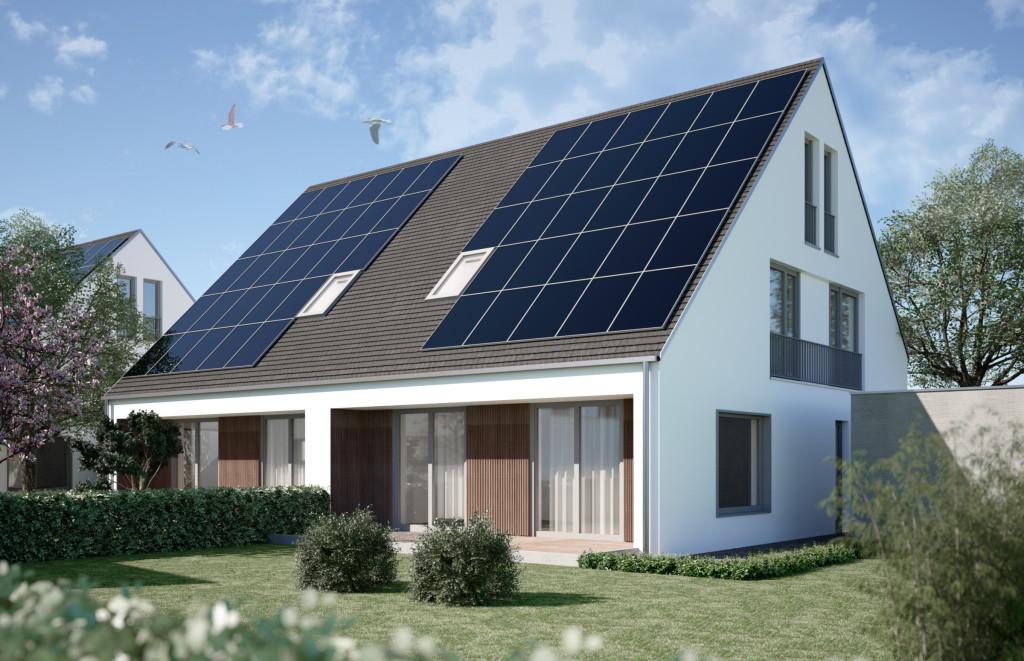 Foto: Effizienzhaus Plus-Siedlung Hügelshart  asset bauen wohnen gmbh/BayWa AG